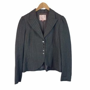 Rebecca Taylor gray striped fitted wool blazer